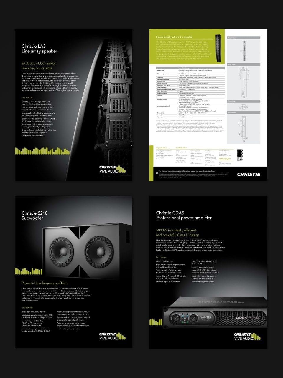 Christie Digital product sales sheet design