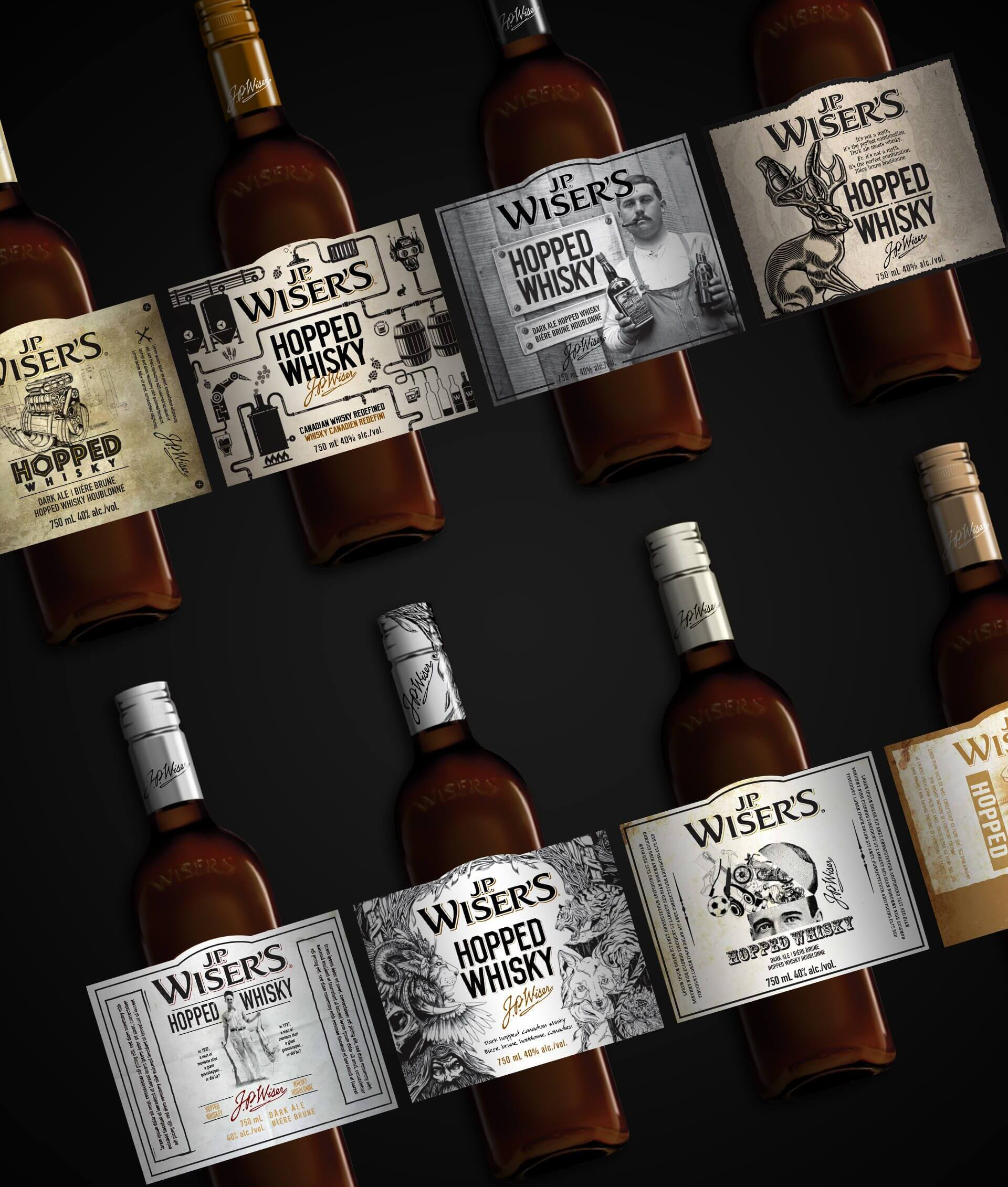JP Wiser's Hopped Whisky bottle label design concepts