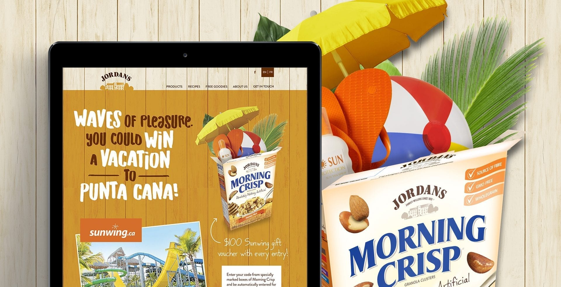 Jordans Morning Crisp and Sunwing Vacations giveaway mobile landing page