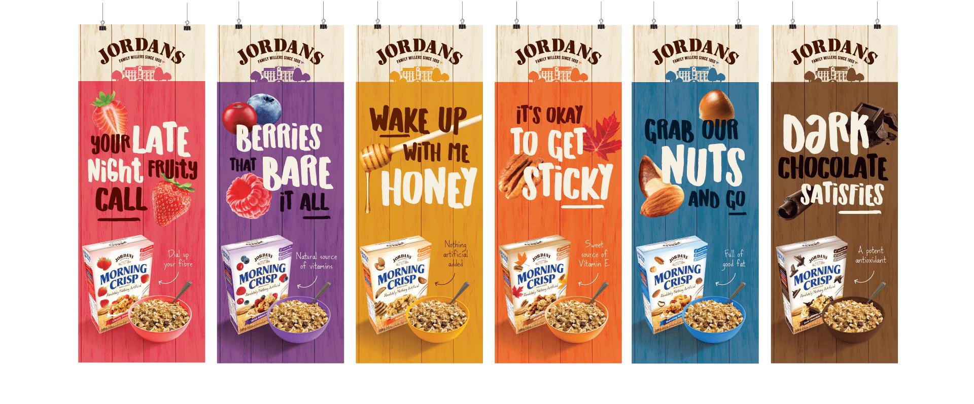 Jordans Morning Crisp flavour banners